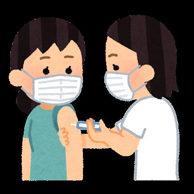 予防注射を受ける人のイラスト(女性・マスクあり)