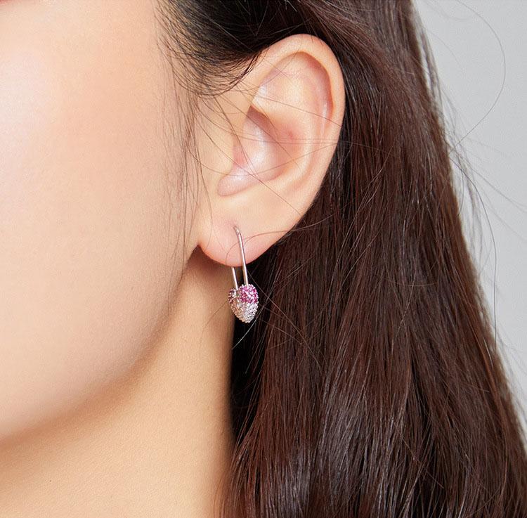 三色鋯石愛心鎖 925純銀耳環
