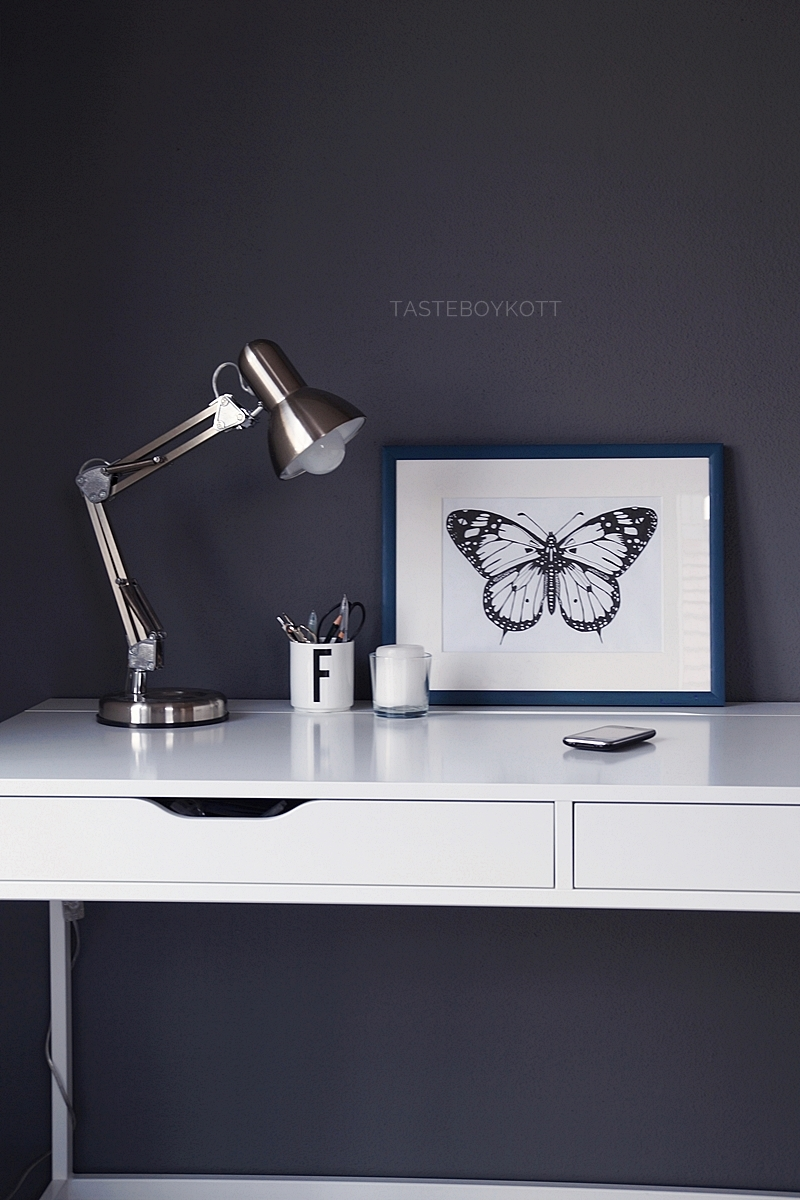 Scandinavian spring office decoration with DIY butterfly print