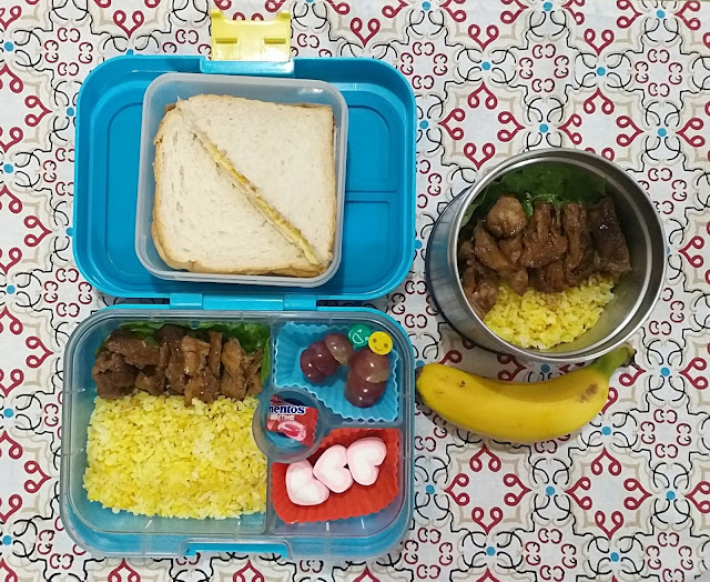 lunch, lunch baon ideas, baon ideas, pork recipes, pork bistek, turmeric rice, Momaye Baon Diary, Yumbox