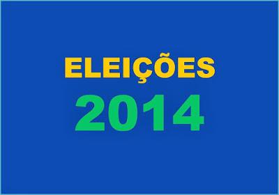 A imagem nas cores do Brasil diz:eleições 2014.