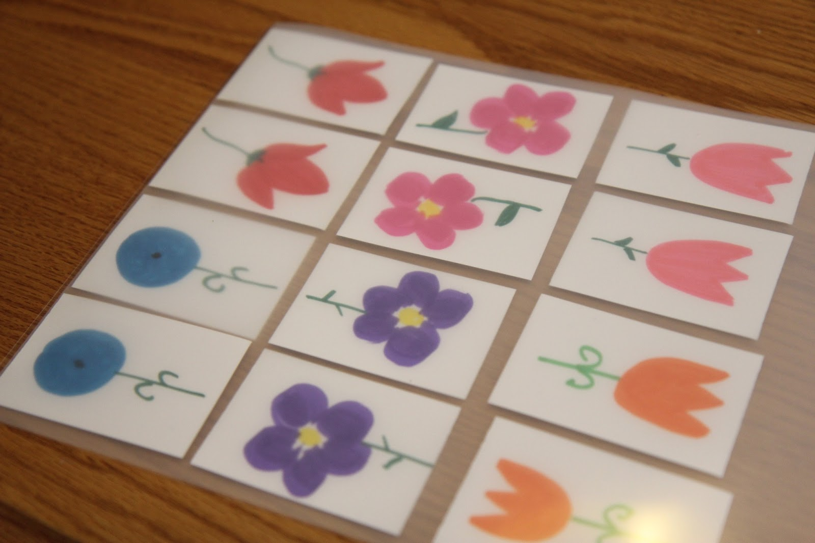 1378d0f28d0de I cut up some paper using cardstock, drew several matching flowers on them  with markers, laminated them (you could also use contact paper), cut them  out, ...