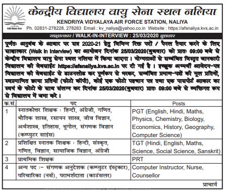 KV NALIYA Recruitment For PGT, TGT & PRT Posts 2020