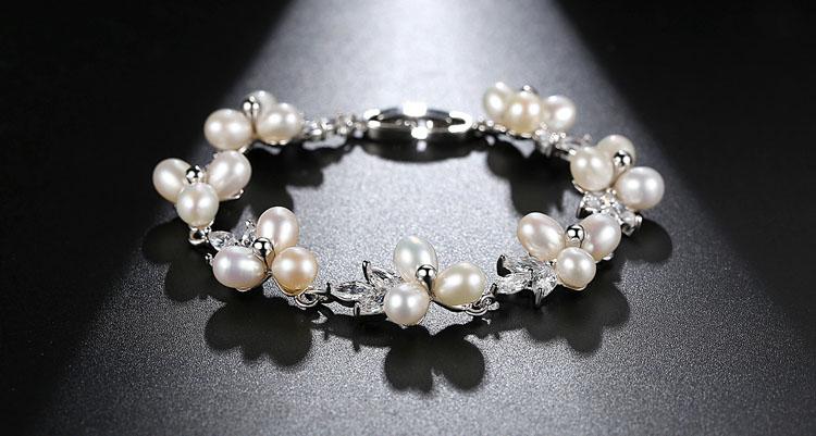 優美淡水真珍珠鋯石手鍊