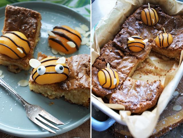 Bienchen Blondies mit weißer Schokolade und Macadamia Nüssen