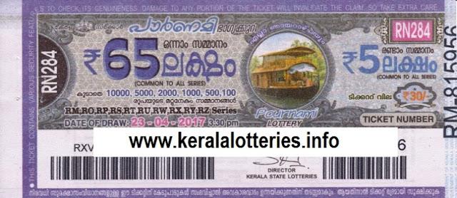 Kerala lottery Pournami (RN-284)