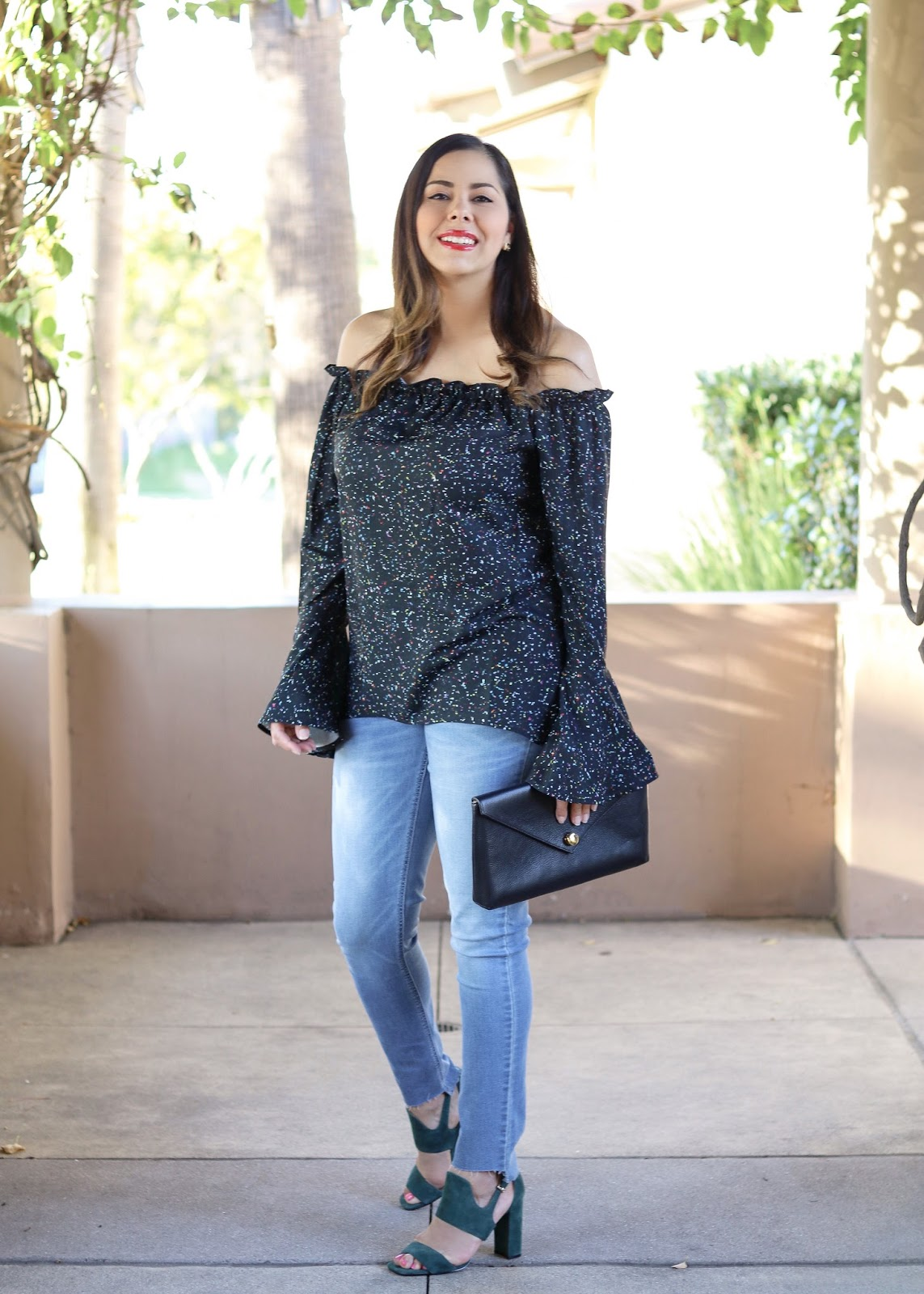 how to wear an off the shoulder top, off the shoulder bell sleeve top