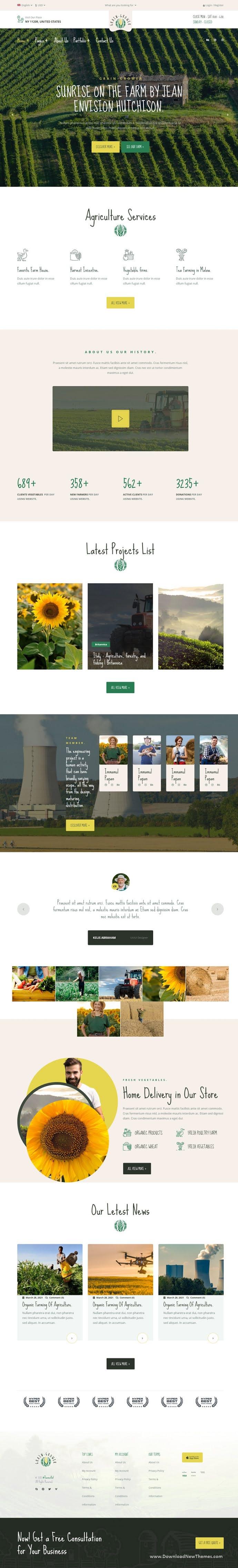 Grain Grower Agriculture Farm & Farmers Elementor Template Kit