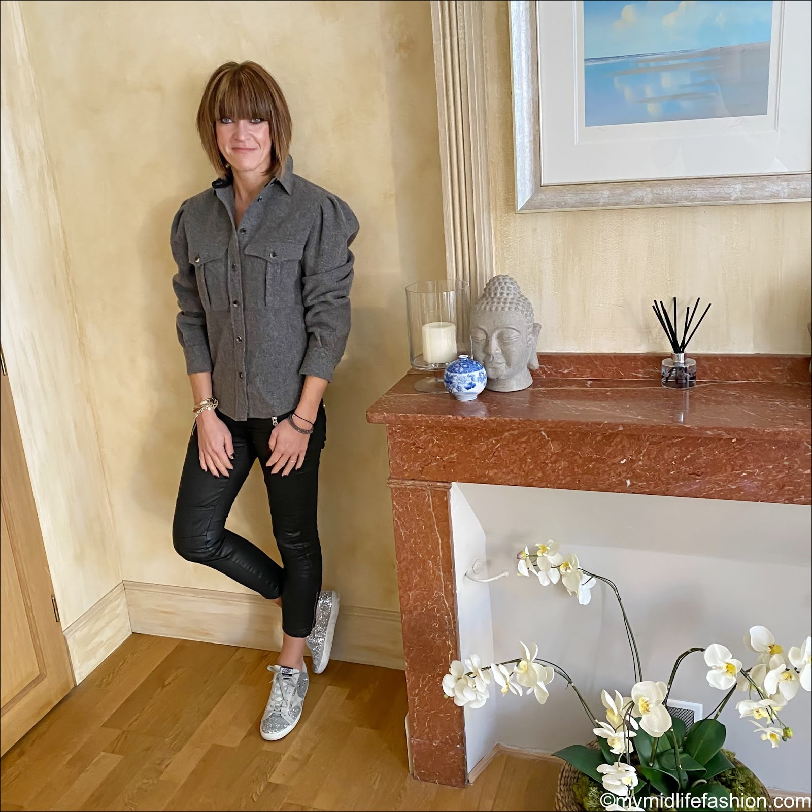 my midlife fashion, Isabel Marant Florrie puffed sleeve wool blend overshirt, Isabel Marant Etoile biker jeans, golden goose superstar low top leather glitter trainers