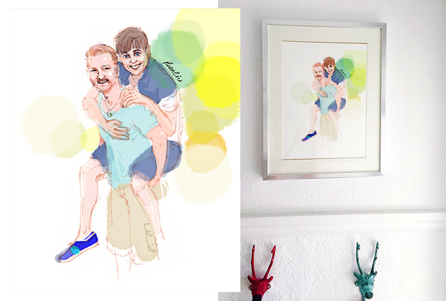 couple love man carry his boyfriend husband on his back, gay couple, love is love, custom portrait illustration of gay man, silver framed drawing on white wall, home decor with framed art, Pride story