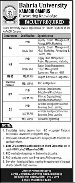 bahria-university-jobs-2020-for-teaching-staff-latest-advertisemnet