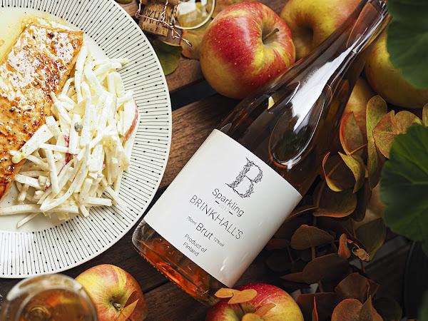 Omena-hunaja glaseerattua lohta ja upea suomalainen kuohuviini Rymättylän omenoista