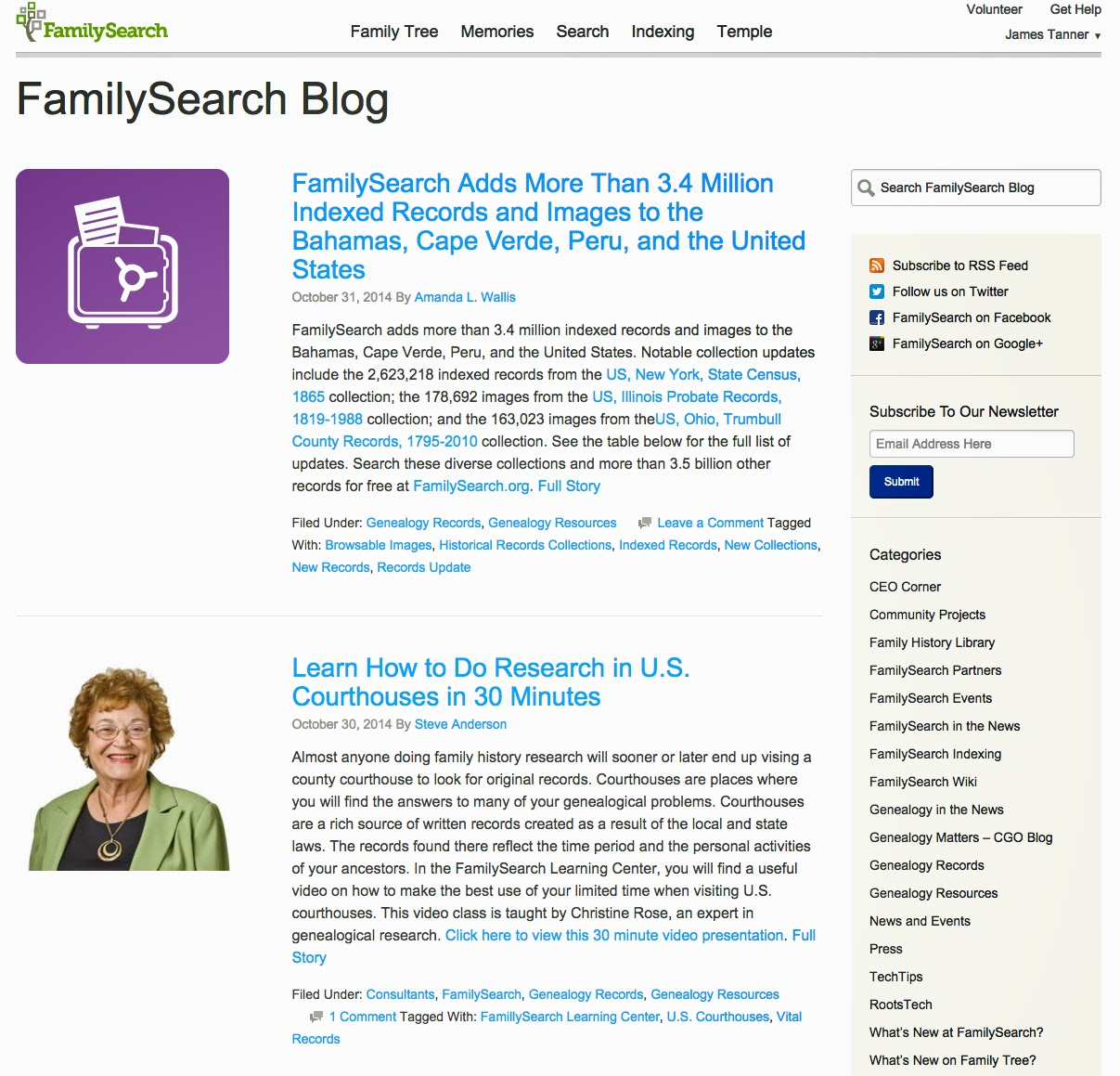 Rejoice, and be exceeding glad   : The FamilySearch Blog, your