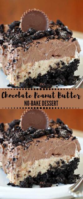 Chocolate Peanut Butter No-Bake Dessert #dessert #cakes #peanut #chocolate #bars