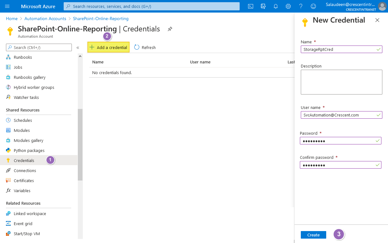 sharepoint online azure automation create new credentials