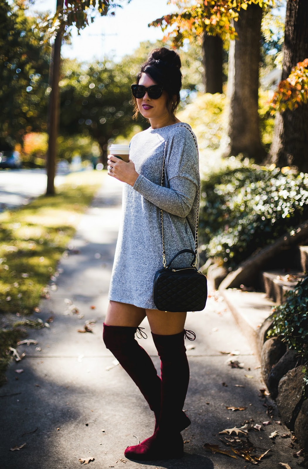 zara quilted crossbody, vici collection, sweater dress, life and messy hair, xo samantha brooke, samantha brooke, nc fashion blogger, nc photographer, fashion post, over the knee boots, stuart weitzman over the knee boot dupes