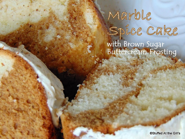 Marble Spice Cake with Brown Sugar Buttercream Frosting