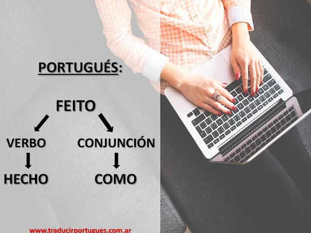 portugues, feito, conjunção, verbo
