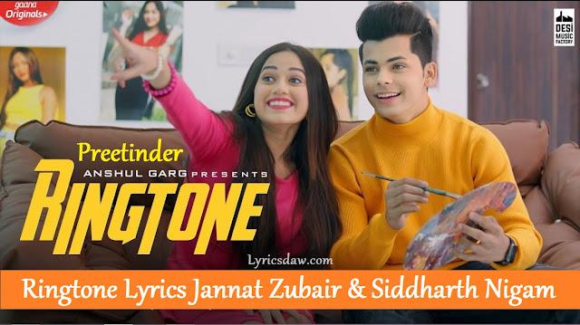 Ringtone Lyrics Jannat Zubair