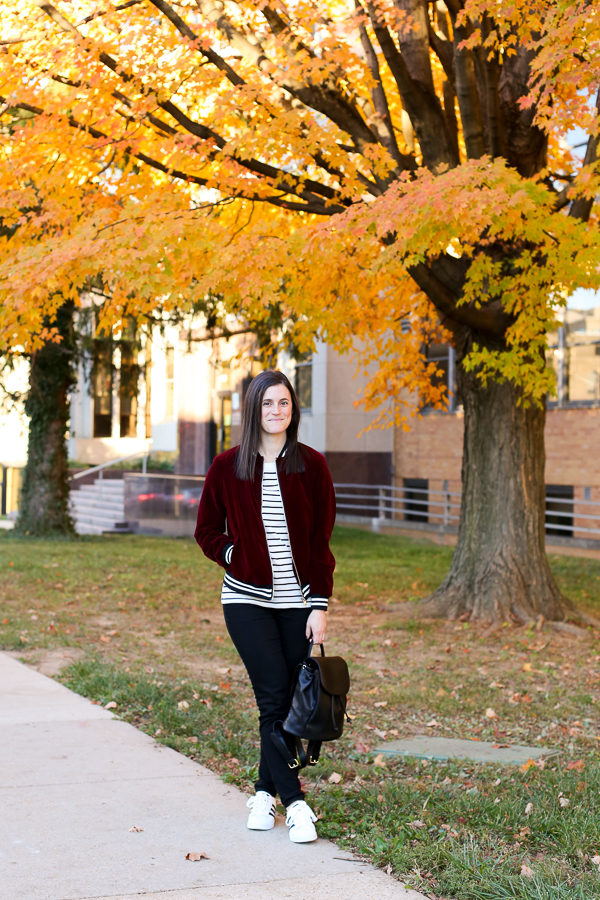 Naturally Me, Romwe Bomber Jacket, Bomber Jacket, Burgundy for Fall, How to Wear Velvet for Fall