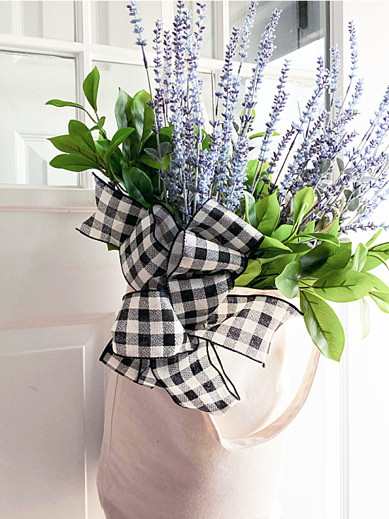 market tote with buffalo check ribbon and flowers
