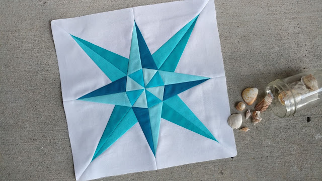 Mariner's Compass quilt block pattern for the QAL By the Sea