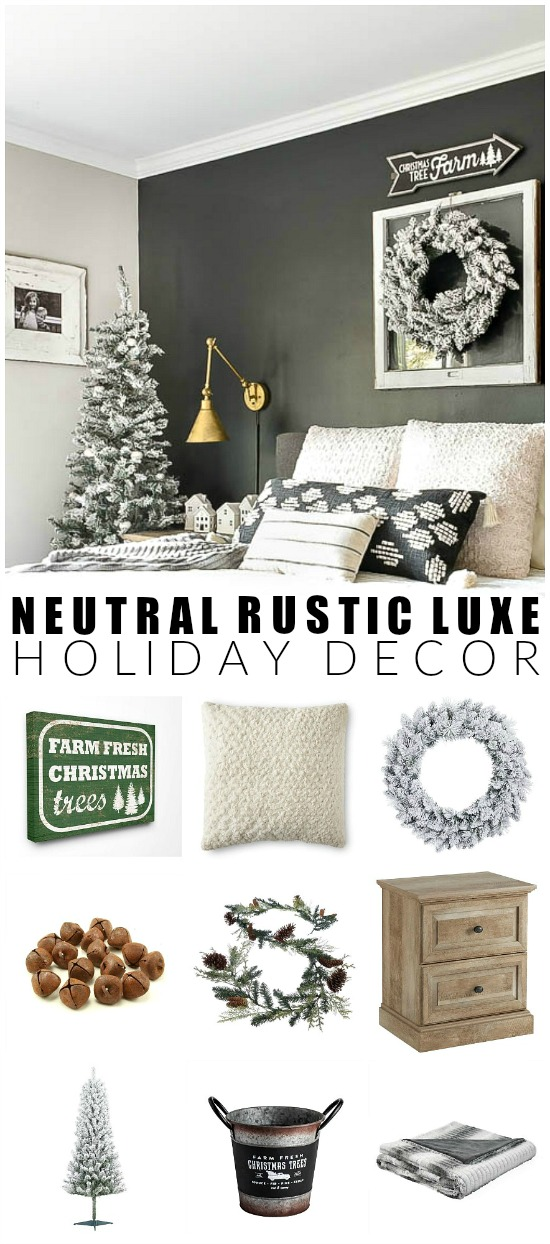 Neutral rustic luxe holiday decor from walmart