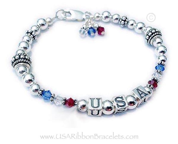 USA Bracelet - Army Mom Bracelet for Mothers' Day - Red White & Blue Bracelet for Mom