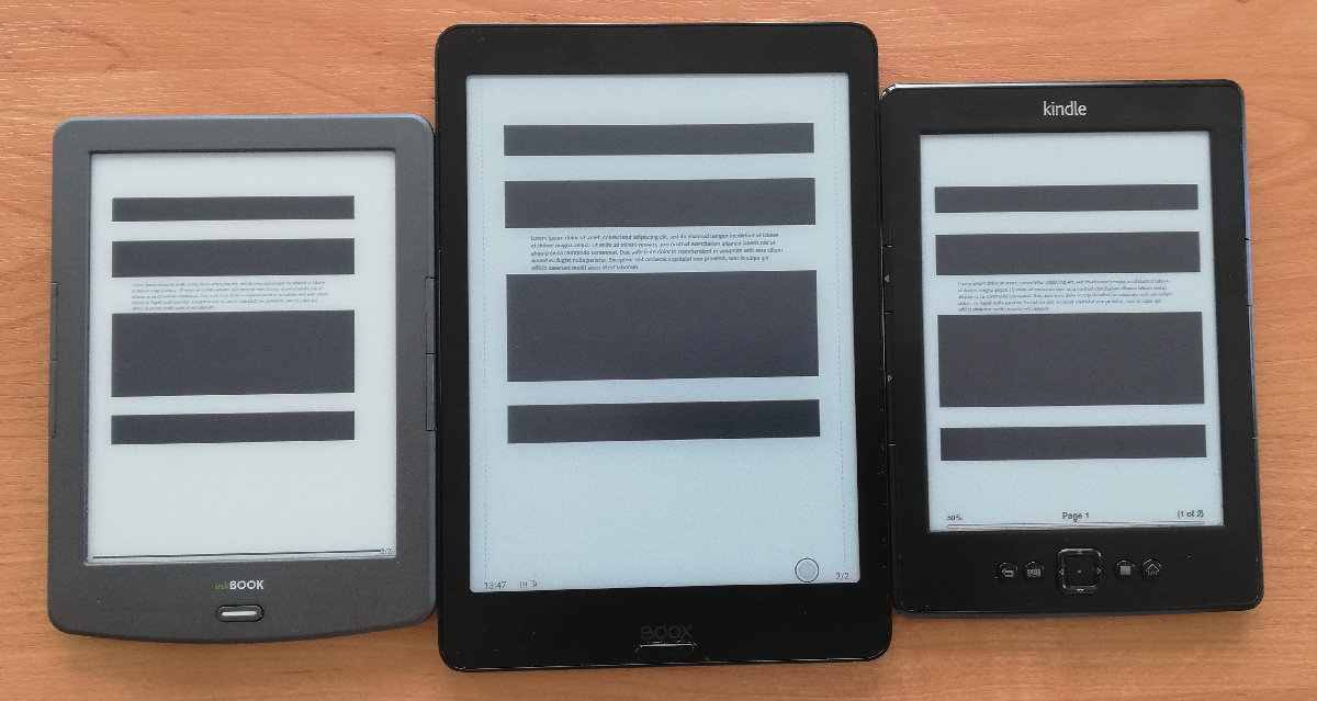 Porównanie ekranów: InkBOOK Classic 2, Onyx Boox Nova 2, Kindle 5
