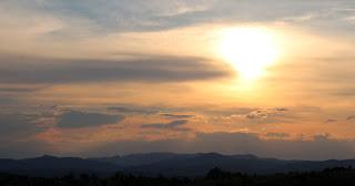 A slightly hazy sunset