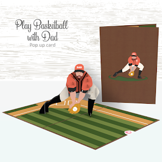 Pop Up Card 3D - Playing Baseball with Dad
