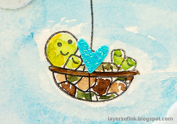 Layers of ink - Balloons, hearts and a cute turtle. Encouragement card tutorial by Anna-Karin Evaldsson. Turtle balloon.