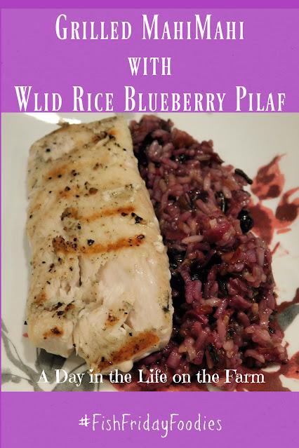 Grilled Mahi-Mahi with Wild Rice Blueberry Pilaf
