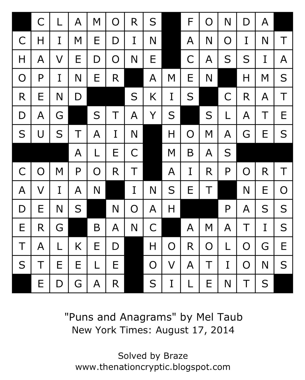 The Nation Cryptic Crossword Forum: New York Times