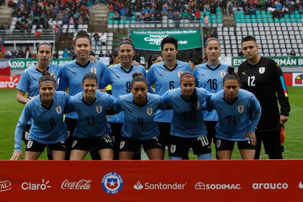 Formación de selección femenina de Uruguay ante Chile, amistoso disputado el 6 de octubre de 2019