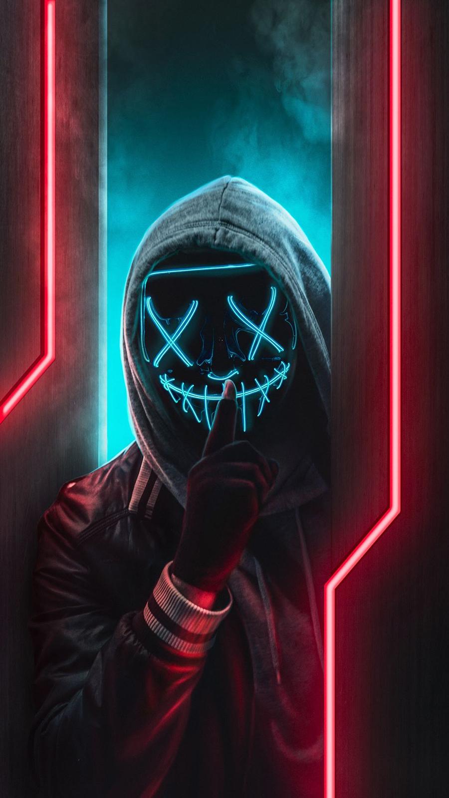 neon mask man wallpaper