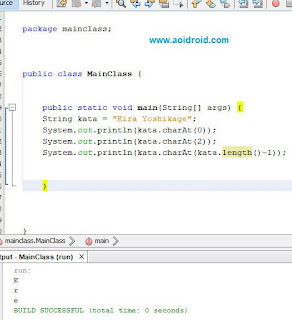 mengecek indeks string java