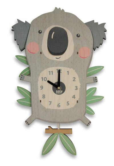 Koala Pendulum Clock - Woodland Nursery Decor - Kids Room Decor - Koala Bear Wall Art - Baby Shower Gift - Koala Gifts