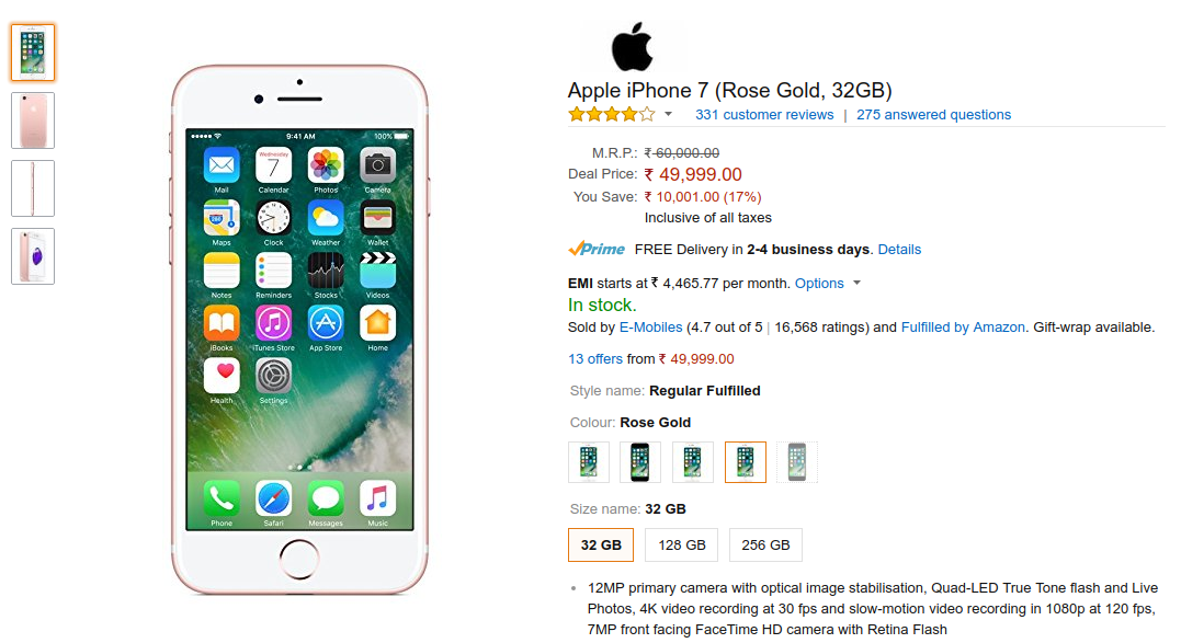 Buy Apple Iphone 7 32gb At Rs 49999 On Amazon India Deal