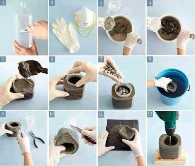 Macetas de cemento con botellas de plástico recicladas