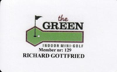 The Green Mini Golf Club membership card