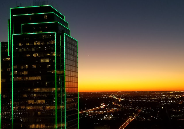 Larry Acheson: The new moon was sighted from the roof of Renaissance Tower (57th floor) in Dallas,TX