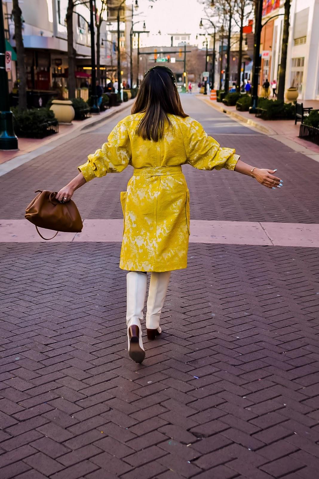 the must have coats/jackets or winter, winter wardrobe essentials, fashion, happyxnature, yellow brocade jacket, winter style, white boots, brown bottega vendetta, myriad musings, saumya shiohare