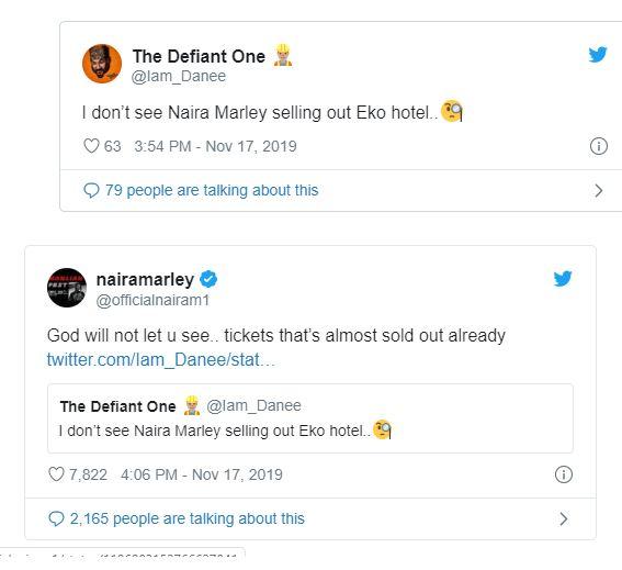 I don't see you selling out Eko Hotel – Troll tells Naira Marley, he Quickly responds (screenshot)