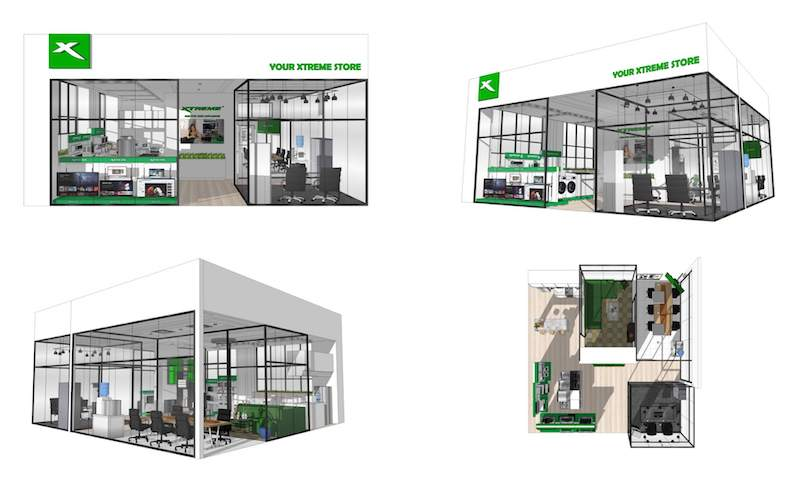 Proposed design of XTREME Appliances' concept stores