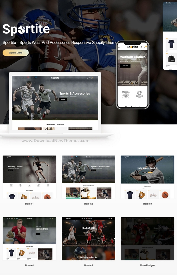 Sports Wear And Accessories Responsive website Theme