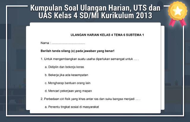 Kumpulan Soal Ulangan Harian, UTS dan UAS Kelas 4 SD/MI Kurikulum 2013 Format Microsoft Word