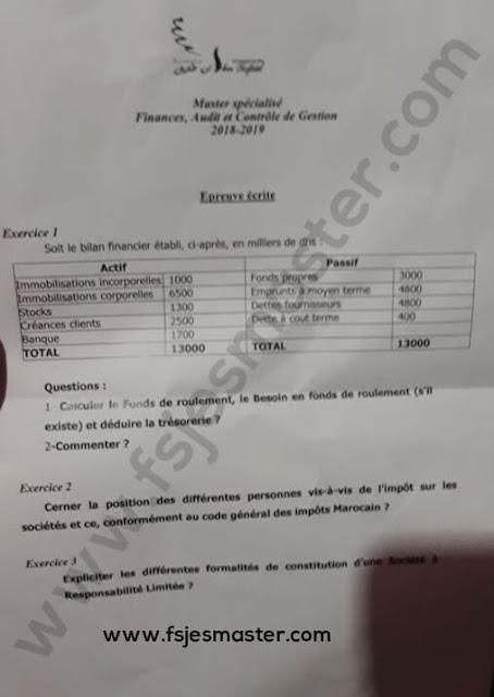 Exemple de Concours Master Finances Audit et Contrôle de Gestion (FACG) 2018-2019 - ENCG Kénitra