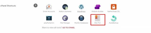 cpanel shorcuts click on ssl / tls