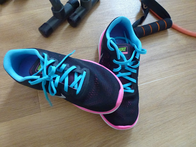 My running shoes! Nike trainers in black, with pink and blue